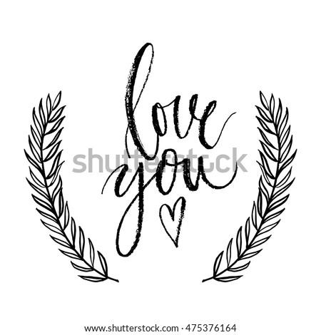 Download Love You Vector Hand Written Brush Stock Vector 475376164 ...