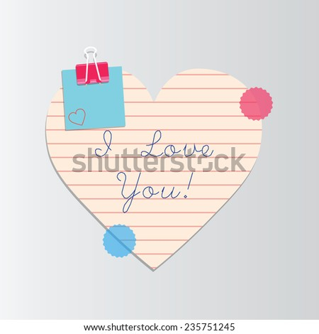 I love you, vector handwritten text. Valentines day card - stock vector