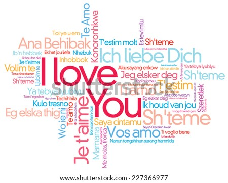 I Love You Vector Word Cloud Style