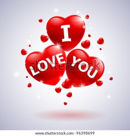I love you with heart. Illustration for wedding design - stock vector