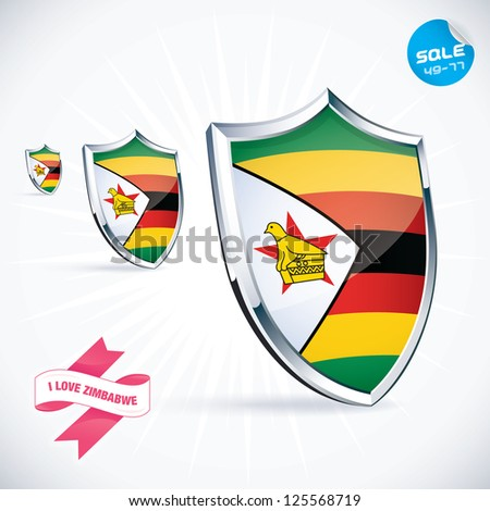 I Love Zimbabwe Flag Illustration, Sign, Symbol, Button, Badge, Icon, Logo for Family, Baby, Children, Teenager, People - stock vector