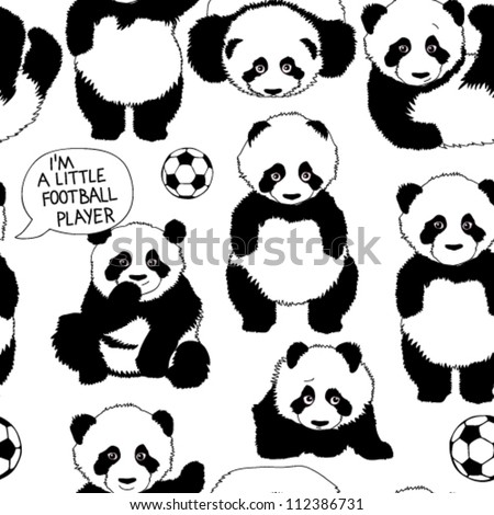 I'm a little football player / Funny children's pattern with panda - stock vector