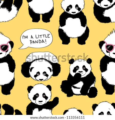 I'm a little panda / Funny children's pattern with punk panda - stock vector