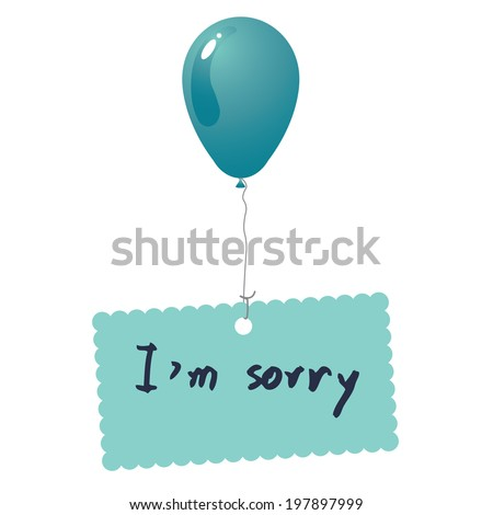 I'm sorry card vector - stock vector
