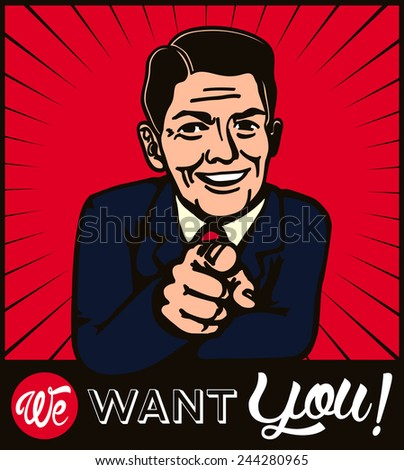 I want you! Retro businessman with pointing finger choosing candidate - stock vector