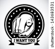 i want you seal over gray background vector illustration - stock vector