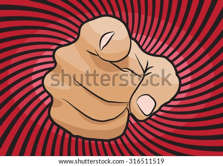 I want you vector hand pointing icon isolated on white background - stock vector