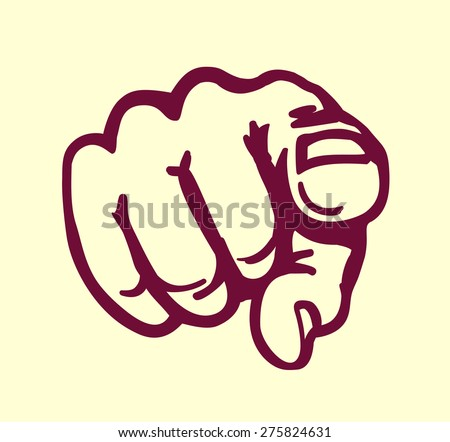 I want you! vintage pointing finger vector illustration, design element - stock vector