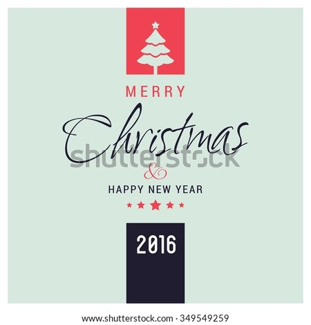 I Wish You A Merry Christmas And Happy New Year Vintage Christmas Background With Typography - stock vector