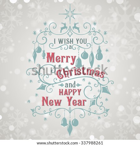 I wish you a Merry Christmas lettering on snowfall background. Congratulations card. Vector illustration - stock vector