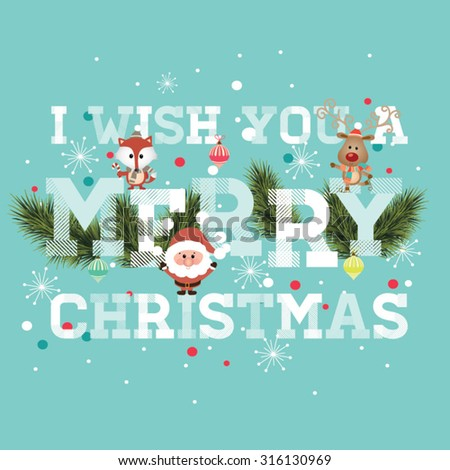 I Wish You A Merry Christmas. Vintage Christmas Background With Typography - stock vector