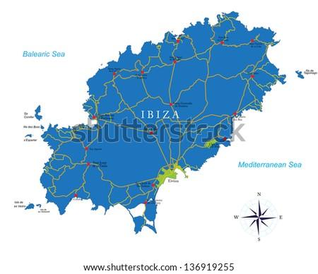 Ibiza map - stock vector