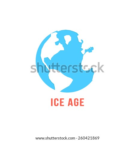 ice age with blue planet earth. concept of global warming, disaster ecocatastrophe, cenozoic era, glacial period. isolated on white background. flat style trendy modern logo design vector illustration - stock vector
