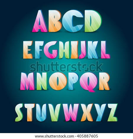 Ice alphabet. Collection of color ice letters for your design - stock vector