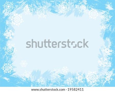 Ice and  snowflakes grunge background. Greeting card frame. Vector illustration.
