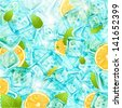 Ice background with leafs, lemons and sun shine for fresh summer design. Vector illustration. - stock vector
