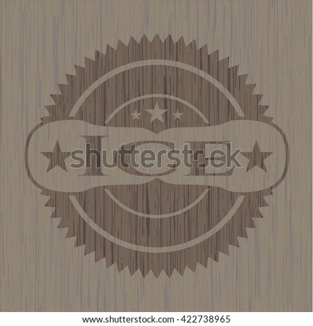 Ice badge with wooden background - stock vector