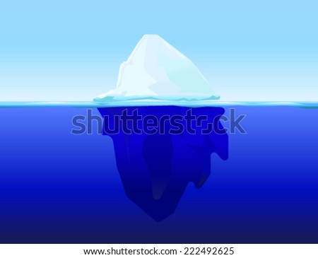 ice berg on water concept vector background - stock vector