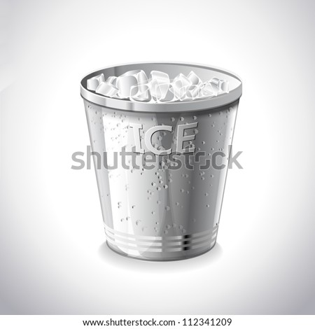Ice bucket filled with ice cubes  isolated on white - stock vector