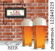 Ice cold beer background, old tavern or pub - stock vector