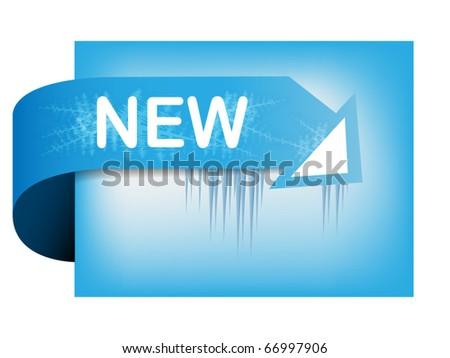 Ice corner ribbon with text new - stock vector
