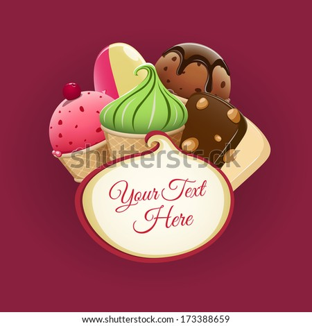 Ice cream background - stock vector