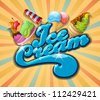 ice cream background, vintage vector - stock vector