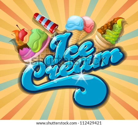 ice cream background, vintage vector - stock vector