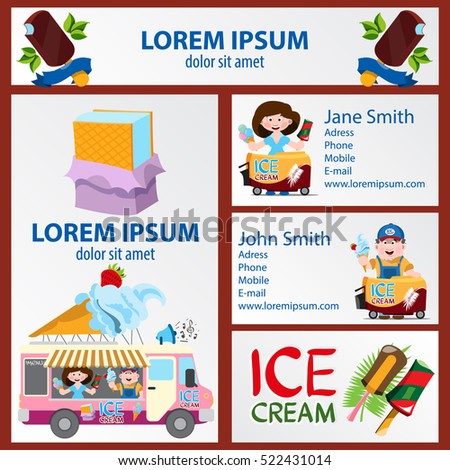 Ice cream banner business card flyer stock vector royalty free banner business card flyer sticker themed sweets and ice cream reheart Choice Image