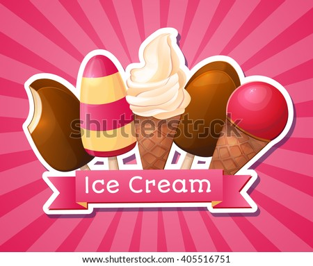 Ice cream. Big set, logo, packaging. - stock vector