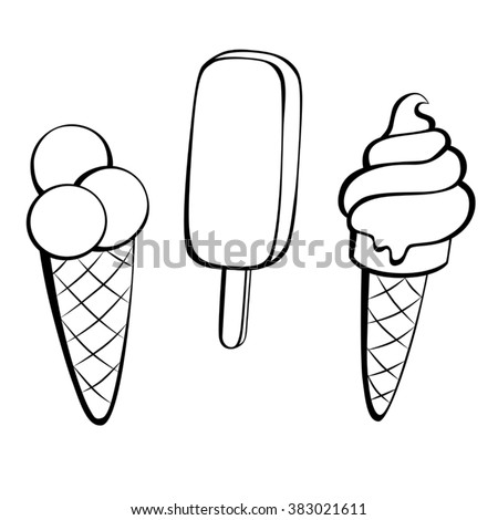 Ice cream black white sweet food isolated illustration vector