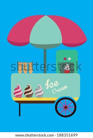 ice cream booth with big umbrella, design elements.vector illustration  - stock vector