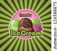 Ice Cream Burst EPS 8 vector, no open shapes or paths. Grouped for easy editing. - stock photo