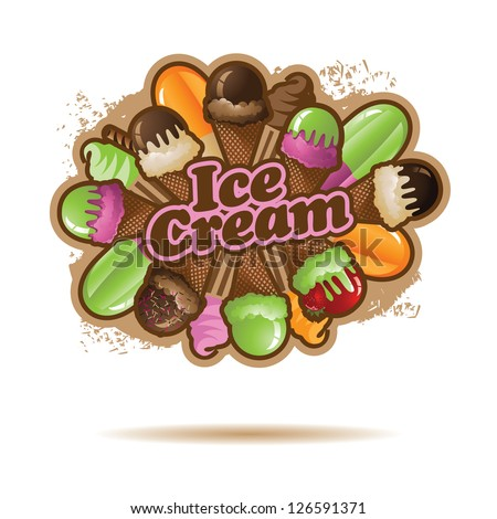 Ice Cream Burst EPS 8 vector, no open shapes or paths, grouped for easy editing. - stock vector