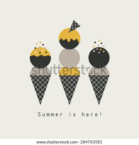 ice cream card design. vector illustration - stock vector