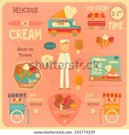 Ice Cream Card in Flat Design Style. Ice Cream Vendor. Vector Illustration. - stock vector