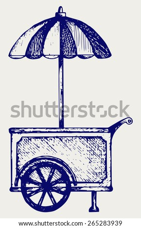 Ice cream cart. Doodle style  - stock vector