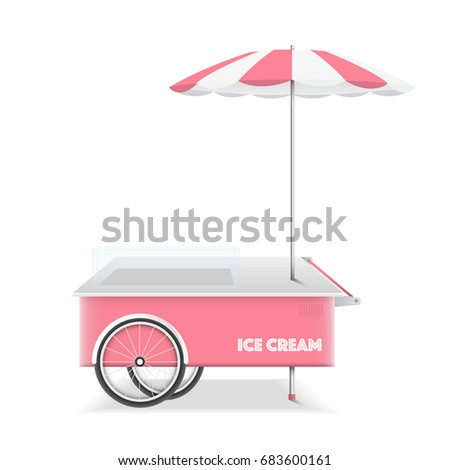 ice cream cart on white background vector design