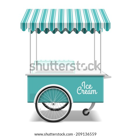 Ice cream cart. Vector. - stock vector