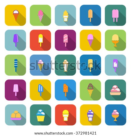 Ice cream color icons with long shadow on white background - stock vector