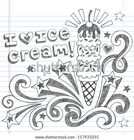 Ice Cream Cone Sketchy Back to School Vector Illustration Sketchy Notebook Doodles on Lined Sketchbook Paper - stock vector