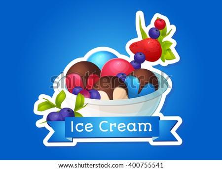 Ice cream, different flavors, dessert. Making menus, labels, logo. - stock vector