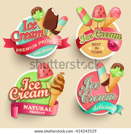 Ice cream emblems, labels and badges collections eps10 vector illustration. - stock vector