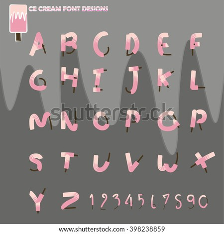 ice cream font vector designs