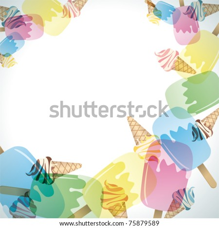 Ice cream frame. Illustration vector. - stock vector