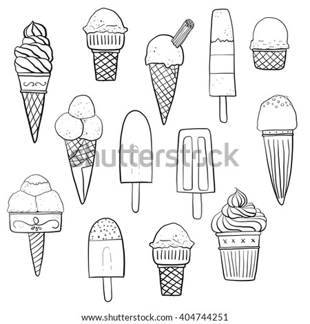 Ice Cream Icon Clip Art Doodle Illustration Background