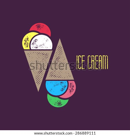 Ice Cream Icon or T-Shirt Design - Colorful Ice Cream Object on Dark Purple Background wit Ice Cream Sign - stock vector