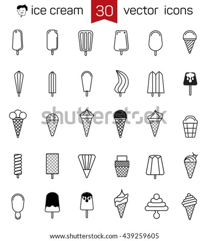 Ice cream icons. Linear minimalist style vector characters kinds of ice cream. - stock vector