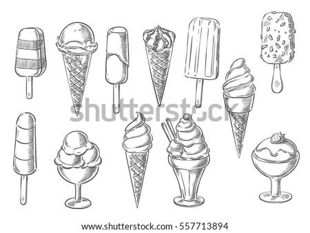 Ice Cream Icons Frozen Creamy Desserts Stock Vector ...