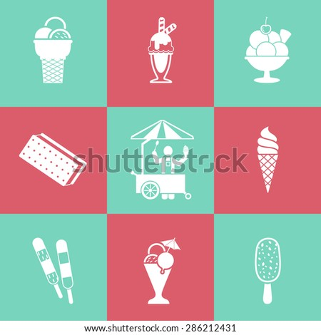 Ice cream icons set - stock vector